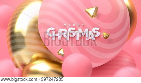 Merry Christmas. Vector Holiday 3d Illustration. Festive Decoration. Paper Letters With Pink And Gol