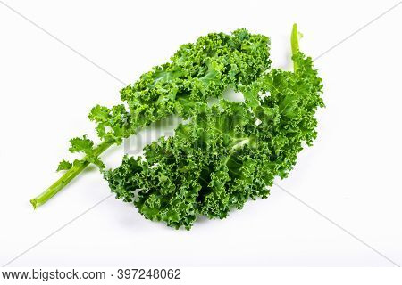 Kale Leaf Salad Vegetable Isolated On White Background. Creative Layout Made Of Kale Closeup.