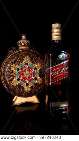 Burgas, Bulgaria- 30.11.2020 : Photo Of A Botle Of  Johnie Walker Red Label Whiskey.