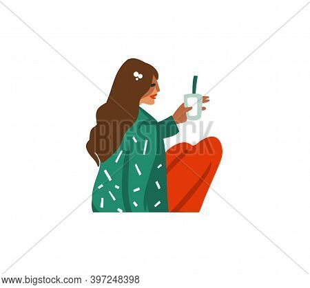 Hand Drawn Vector Abstract Fun Stock Flat Merry Christmas, And Happy New Year Cartoon Festive Card W