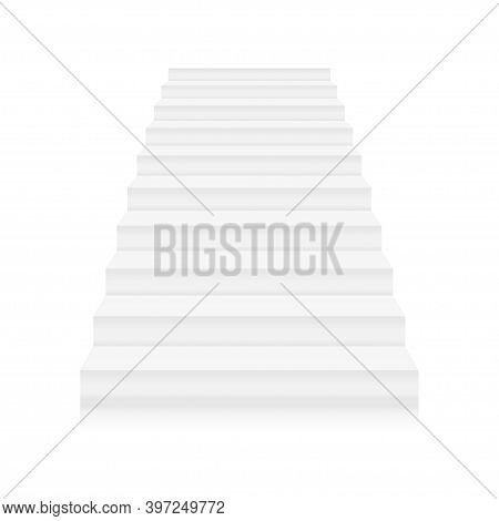 Front View Of Stairs. Staircase Success Business Concept Or Interior Element. Template Design Of Hom