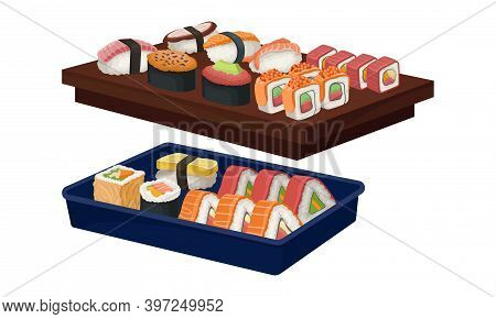 Appetizing Sushi And Maki As Delicious Oriental Food On Wooden And Plastic Tray Vector Set