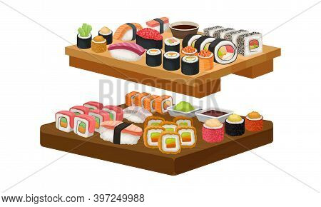 Appetizing Sushi And Maki As Delicious Oriental Food On Wooden Tray Vector Set