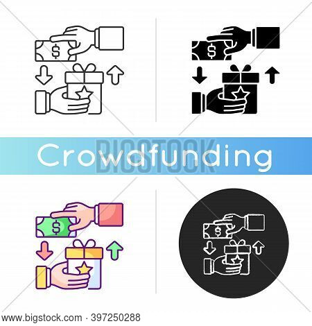 Reward Based Crowdfunding Icon. Individuals Contributing Small Amounts Of Money To Project In Return