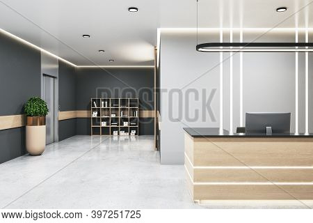 Contemporary Office Lobby Hall With Reception Desk And Computers. Lifestyle And Workplace Concept. 3