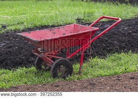 Dual Wheel Barrow, Double Wheel Cement Cart In The Garden.