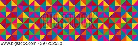 Abstract Vector Triangles Header. Colorful Geometric Triangular Banner. Seamless Pattern Of Geometri
