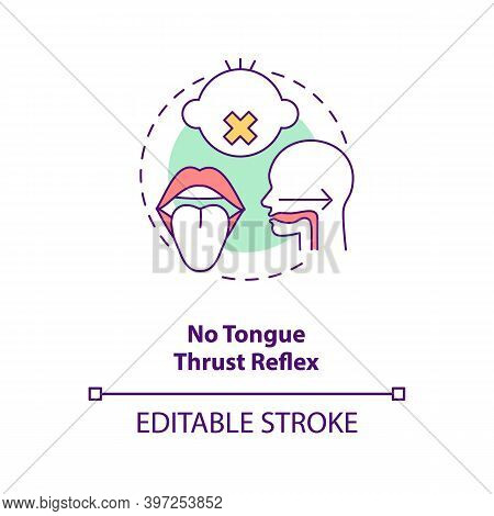 No Tongue Thrust Reflex Concept Icon. Introducing Baby Food Requirements. Feeding From The Breast Or