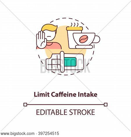 Limit Caffeine Intake Concept Icon. Healthy Breastfeeding Diet. Reduce Intake Of Coffee And Green Te