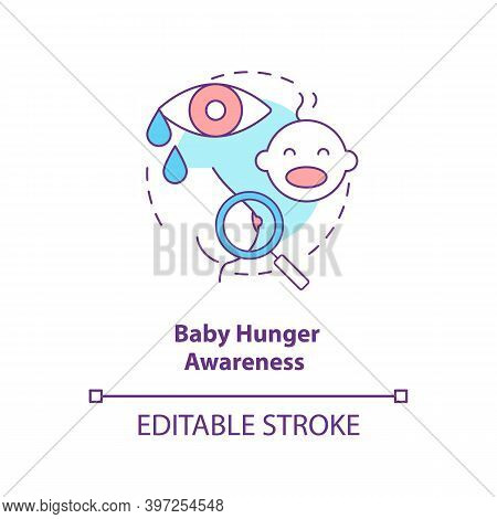 Baby Hunger Awareness Concept Icon. Breastfeeding Tips. Children Crying For Food. Newborns Want To D
