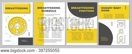Breastfeeding Brochure Template. On-demand Nursing. Hungry Baby Signs. Flyer, Booklet, Leaflet Print