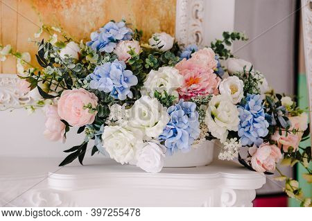 Big Bouquet Of Fresh Flowers, Pink, Blue Hydrangeas, White Roses And Greenery In Vase. Wedding Flowe