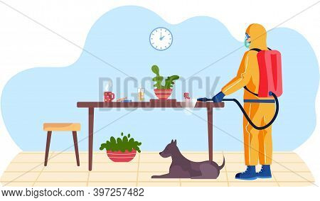 Man In A Yellow Protective Suit Disinfects The Living Room With Dog Or Office With A Spray Gun. Viru