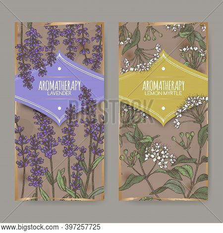Two Labels With Lavender Aka Lavandula Angustifolia And Lemon Myrtle Aka Backhousia Citriodora Color