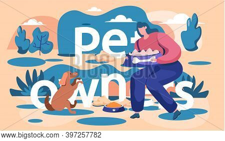 Young Girl Training Dog Execute The Command To Sit. Female Feeding Doggy From A Bowl Cartoon Illustr