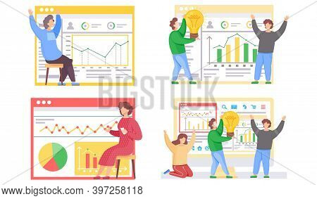 A Set Of Illustrations On The Topic Of Statistical Indicators Research. People Play Games And Do Ana