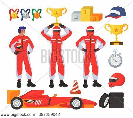 Race Driver Set, Flat Vector Isolated Illustration. Car Driver, Racer Wearing Costume. Racing Gear A