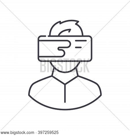 Hitech Glasses Icon, Linear Isolated Illustration, Thin Line Vector, Web Design Sign, Outline Concep