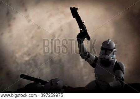 NOV 25 2020: Recreation of war scene from Star Wars The Clone Wars with Clone Troopers in battle - Hasbro action figure