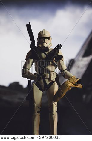 NOV 25 2020: Recreation of war scene from Star Wars The Clone Wars with Clone Troopers posing after battle - Hasbro action figure