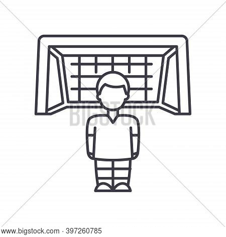 Goaltender Icon, Linear Isolated Illustration, Thin Line Vector, Web Design Sign, Outline Concept Sy