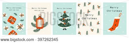 Set Christmas Cards With Christmas Tree, Christmas Elements. Vector Illustrations