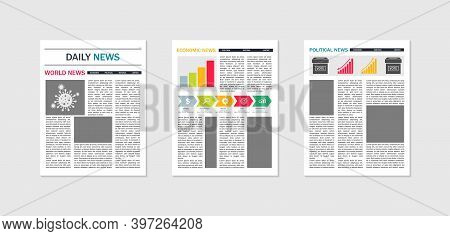 Newspaper Mockup. Template Of Paper News. Tabloid Of News. Magazine With Articles And Text. Layout O