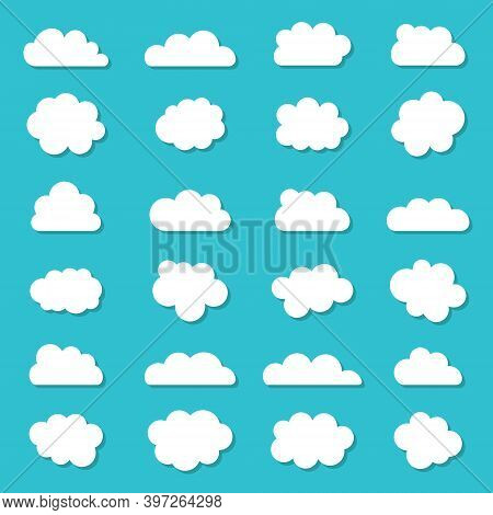 Cloud Icons In Cartoon Style. White Shapes On Blue Background. Set Of Sky Clouds. Simple Bubbles For