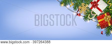 Christmas And New Year Background With Realistic Pine Branches, Candy Canes, Serpentine, Gifts Boxes