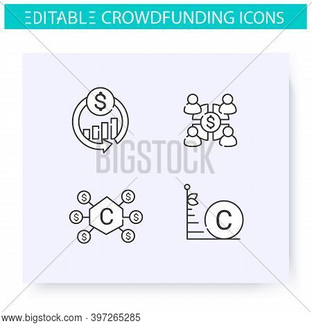 Crowdfunding Line Icons Set. Community Funding. Donation Funds Types. Funding And Investment Concept