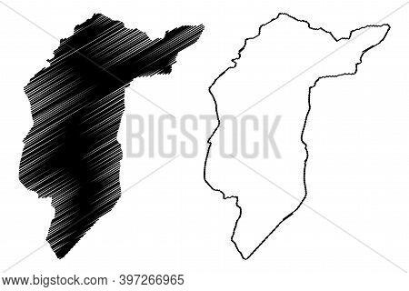 Central Darfur State (republic Of The Sudan, North Sudan) Map Vector Illustration, Scribble Sketch C