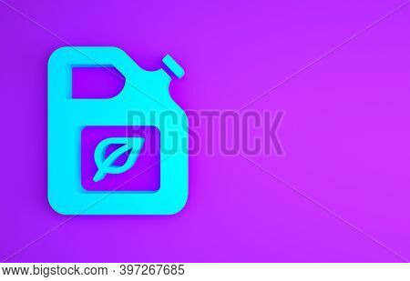 Blue Bio Fuel Canister Icon Isolated On Purple Background. Eco Bio And Barrel. Green Environment And