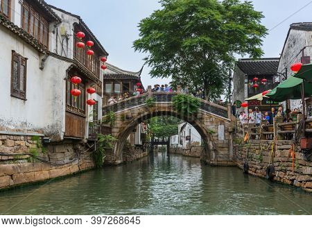 Suzhou, China - May 21, 2018: Boat cruise on the canal city of Suzhou.