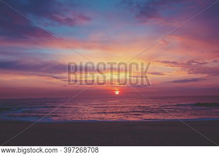 Sunset Over The Ocean. Sandy Beach At Sunset. Beautiful Seashore In The Evening.  Porto, Portugal, E