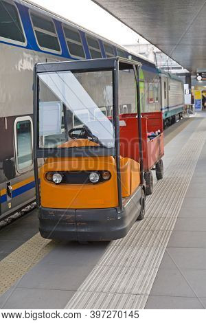 Tug Tow Cart Vehicle At Train Station Platform