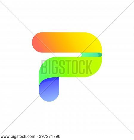 Colorful Gradient P Letter Initial Logo. Vector One Line Typeface For Tech Branding Design, Nightlif