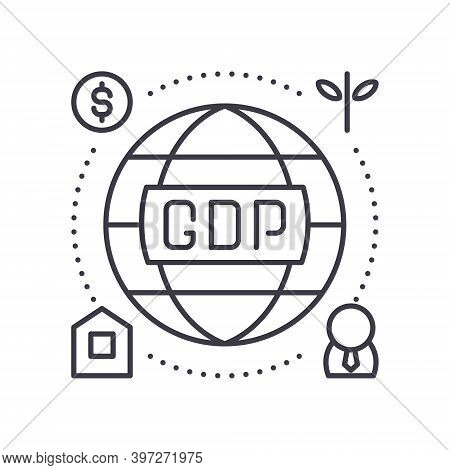 Gross Domestic Product Icon, Linear Isolated Illustration, Thin Line Vector, Web Design Sign, Outlin