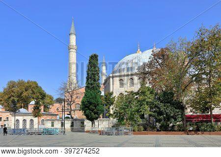 View Of Hagia Sophia And Murad Iii Mausoleum In The Fall. Sultanahmet Neighbourhood, City Of Istanbu