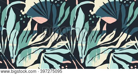 Artistic Seamless Pattern With Abstract Leaves. Modern Design For Paper, Cover, Fabric, Interior Dec