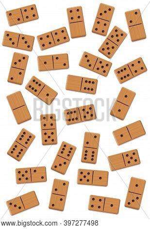 Dominos, Scattered, Shuffled, Mixed Up,loosely Arranged Messy Set Of 28 Wooden Tiles. Isolated Vecto