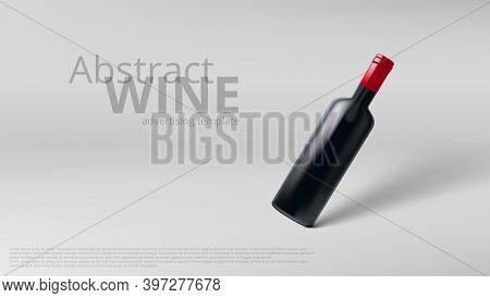 3d Slanted Glass Wine Bottle Advertising Template