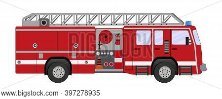A Firefighter Car. Firetruck On A White Background.