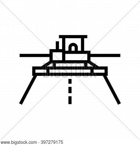 Asphalt Paver Equipment Line Icon Vector. Asphalt Paver Equipment Sign. Isolated Contour Symbol Blac