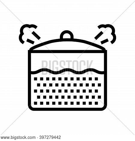 Boiling Oatmeal Line Icon Vector. Boiling Oatmeal Sign. Isolated Contour Symbol Black Illustration