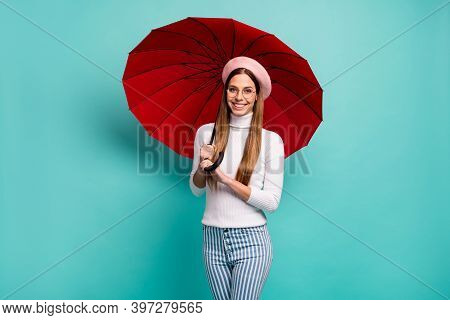 Rain Wont Stop Me. Photo Of Pretty Traveler Lady Hold Big Red Umbrella Walk Street Abroad Good Mood