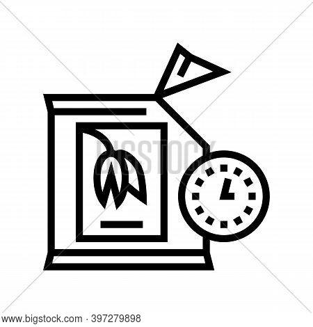 Shelf Life Of Oatmeal When Opened Bag Line Icon Vector. Shelf Life Of Oatmeal When Opened Bag Sign.