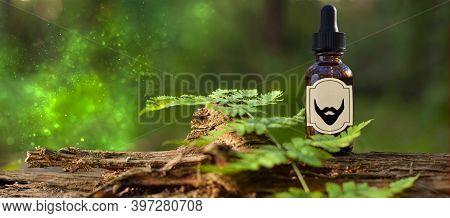Beard Oil - Barbershop Product Photography, Banner. Natural Beard Oil, Brown Bottle. Mockup - Copy S