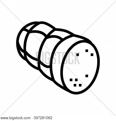 Sausage Cooked Meat Food Line Icon Vector. Sausage Cooked Meat Food Sign. Isolated Contour Symbol Bl