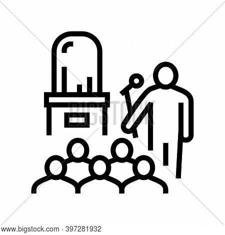 Jewelry Thing Presentation Introduction Line Icon Vector. Jewelry Thing Presentation Introduction Si