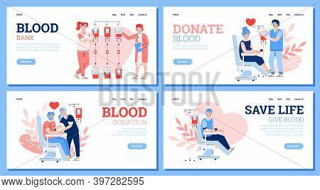 Design For Web Sites Of Hospital Or Blood Bank. Donors Sitting In Medical Chairs And Donation Blood.
